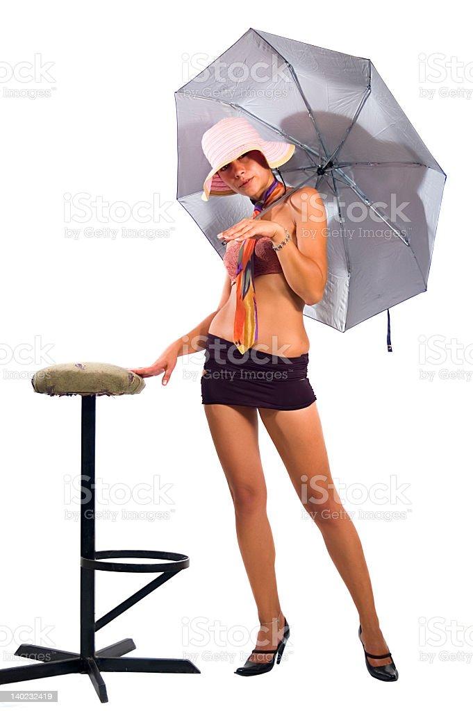 Girl with umbrella royalty-free stock photo