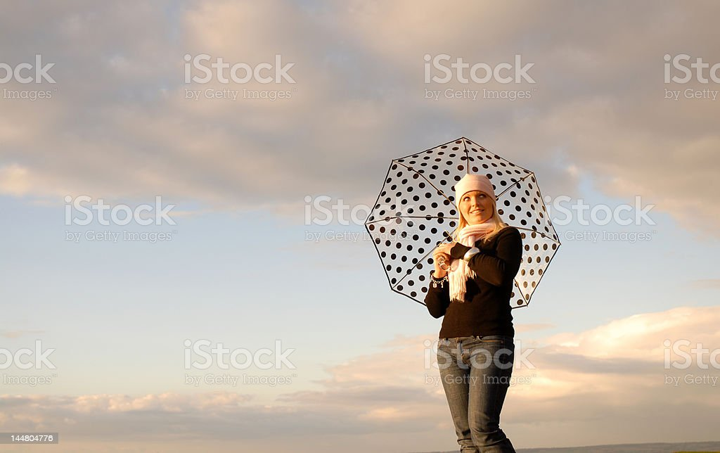 Girl with umbrella. royalty-free stock photo