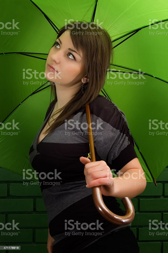 XXL Girl with umbrella royalty-free stock photo