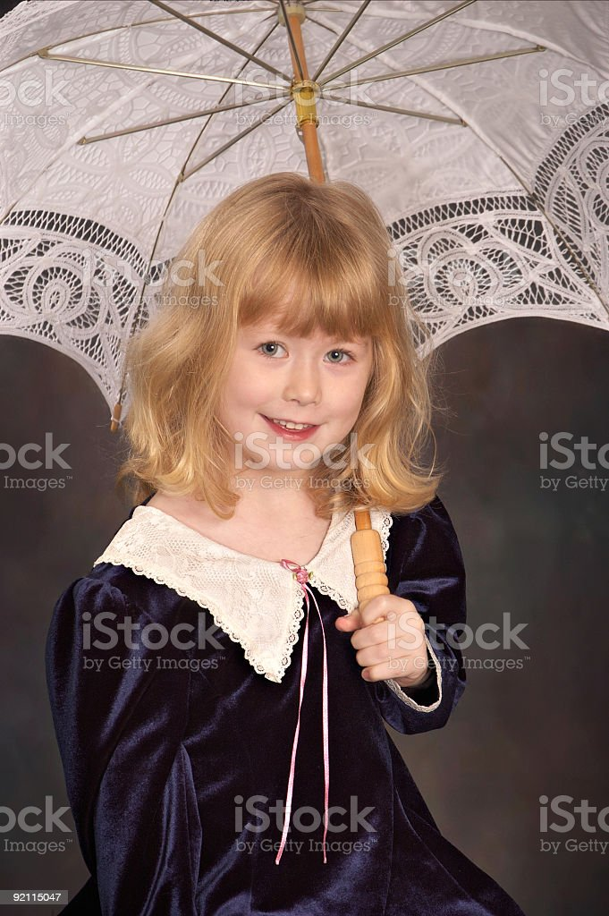 Girl with umbrella royalty-free stock photo