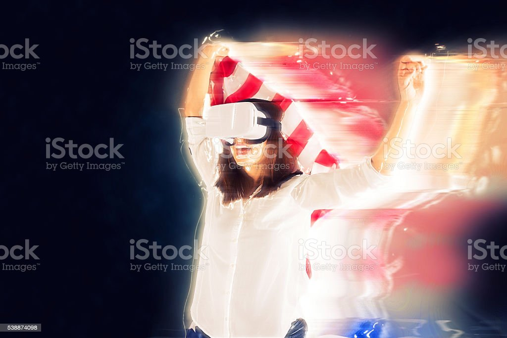 Girl with US flag in VR stock photo