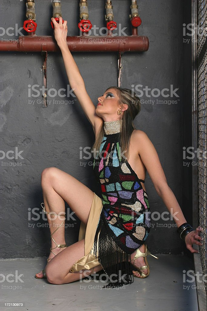 Girl with valves royalty-free stock photo