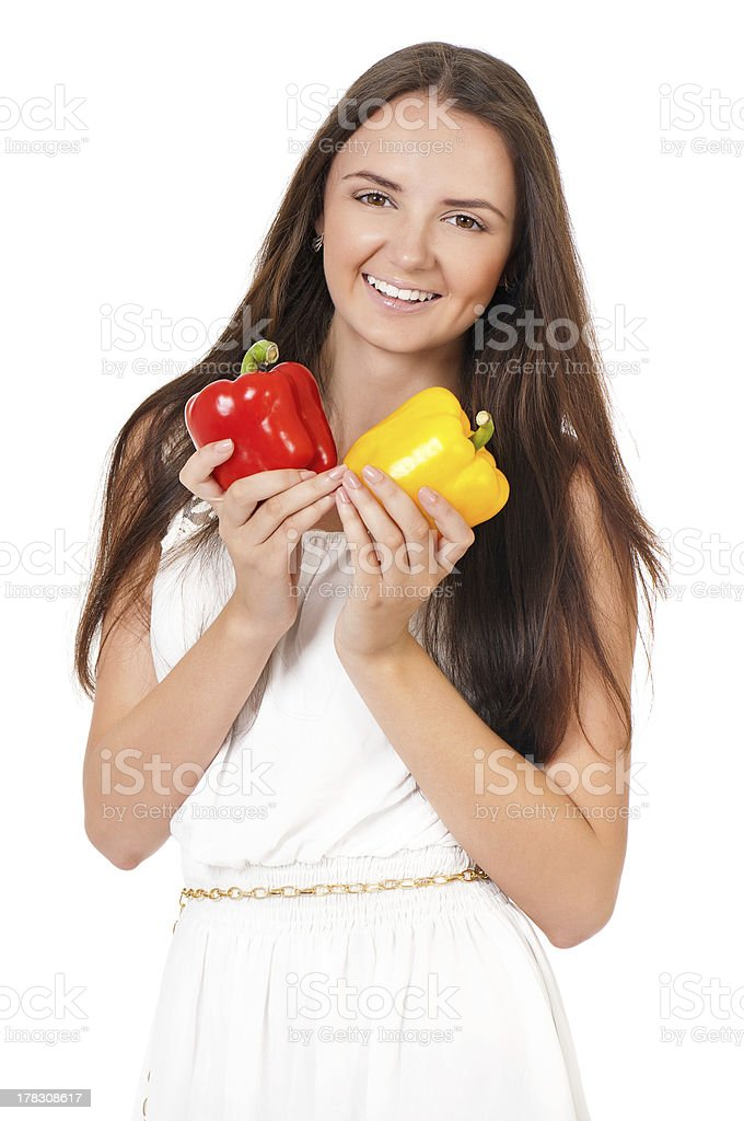 Girl with vegetables royalty-free stock photo