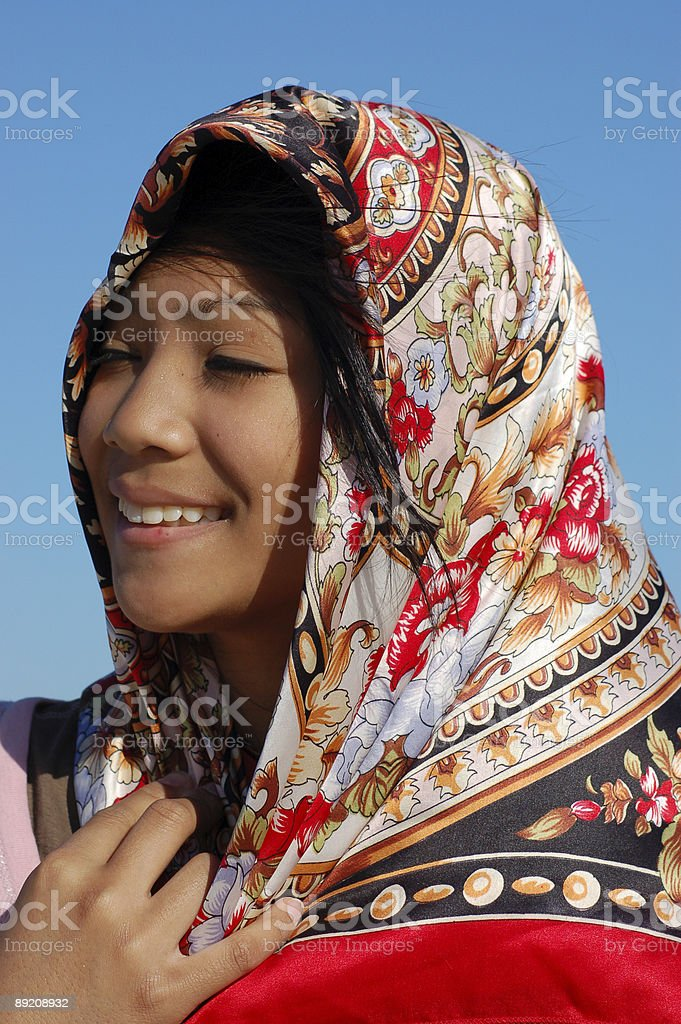 Girl with vibrant scarf stock photo