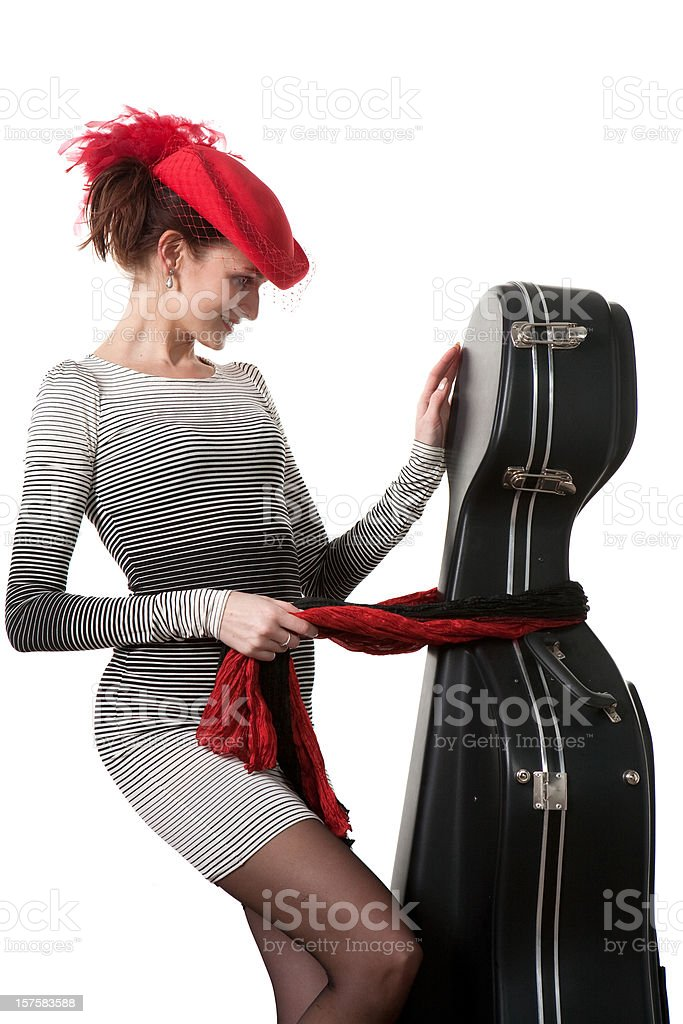 girl with viol case stock photo