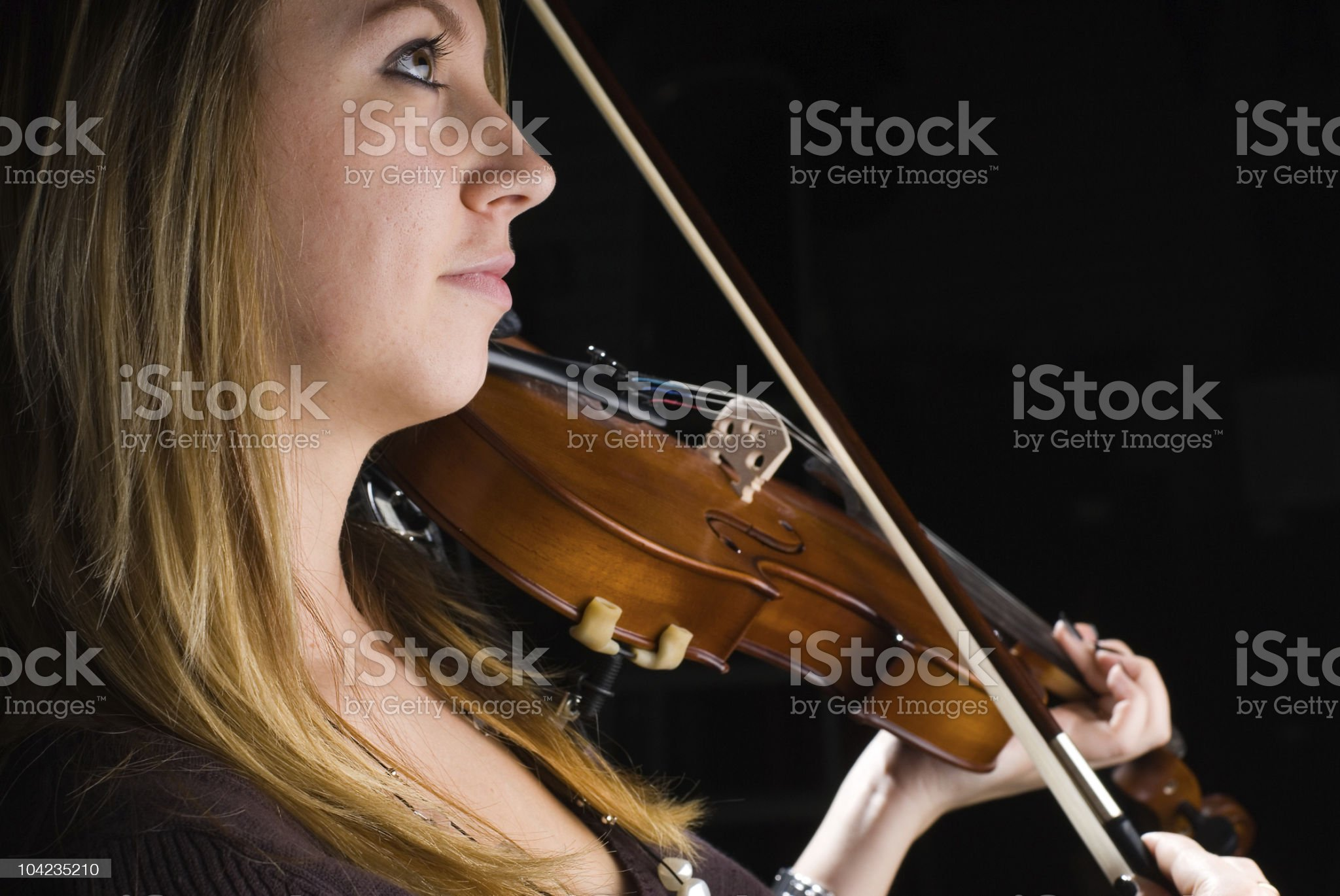Girl with violin royalty-free stock photo