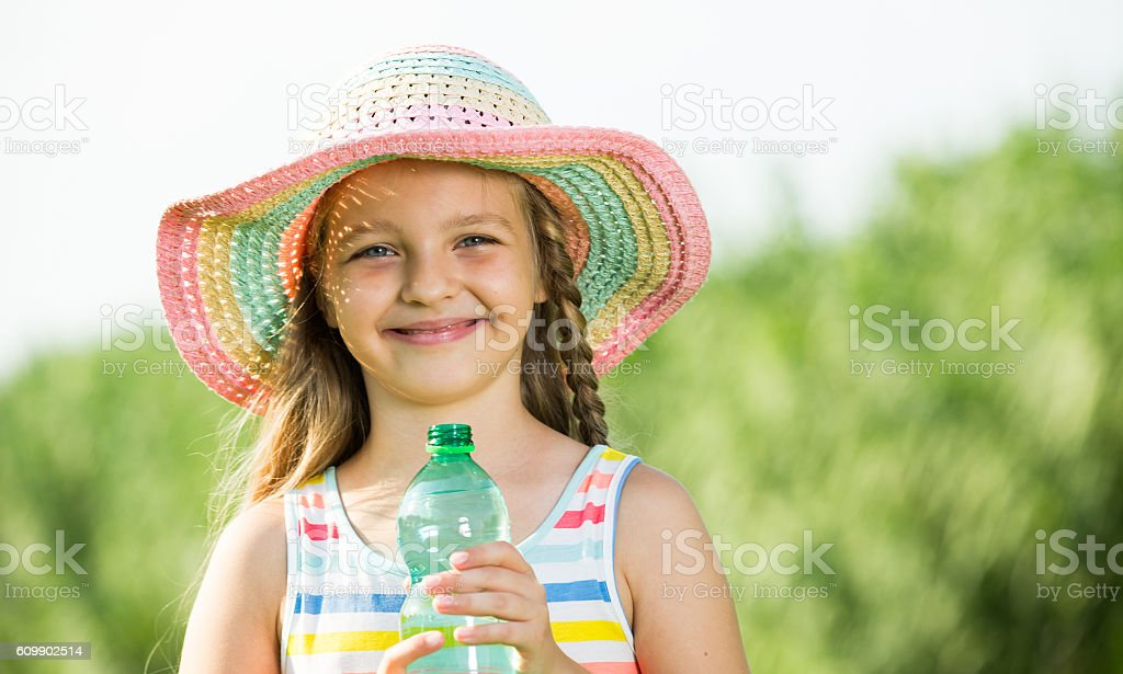 girl with water stock photo