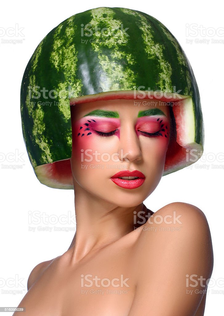 Girl with watermelon royalty-free stock photo