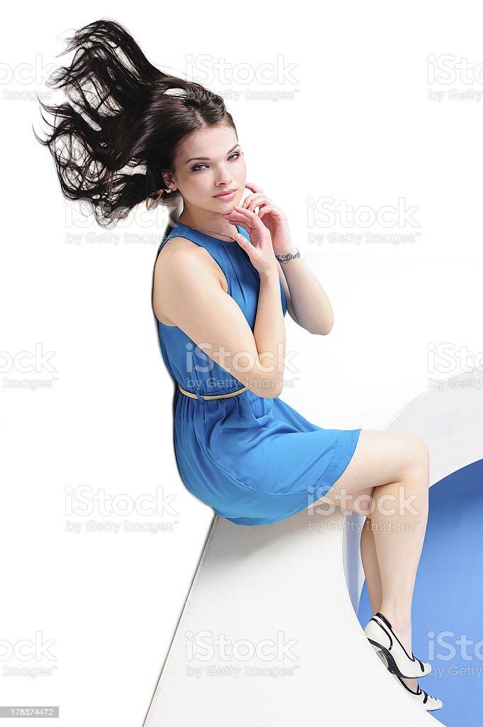 Girl with waving hair royalty-free stock photo