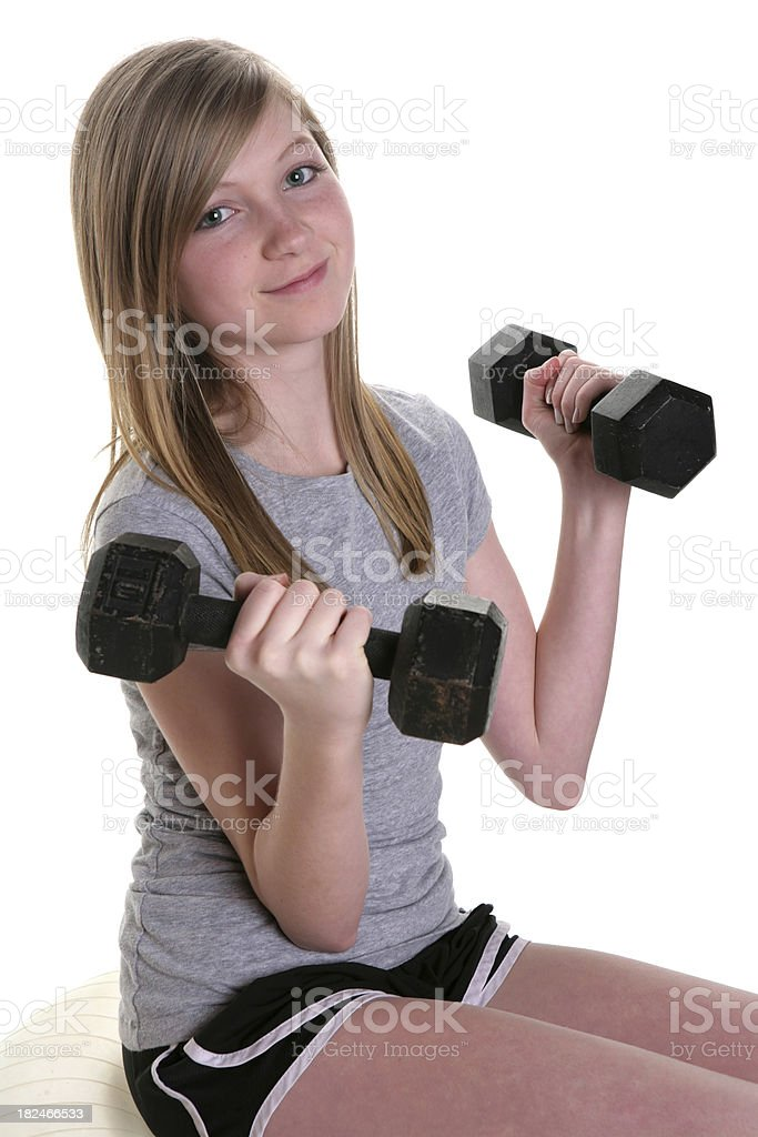 Girl with Weights royalty-free stock photo