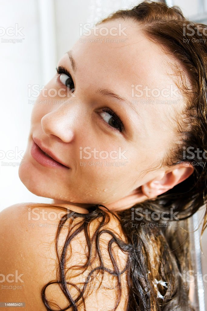 Girl with wet hair royalty-free stock photo