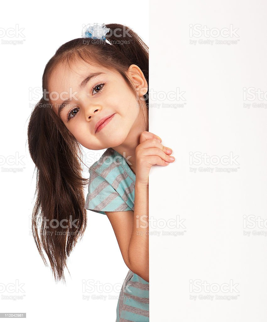 Girl with white board royalty-free stock photo