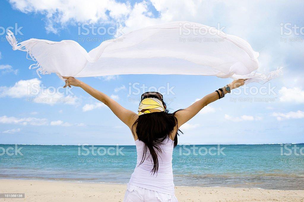 girl with white cloth enjoying seascape royalty-free stock photo
