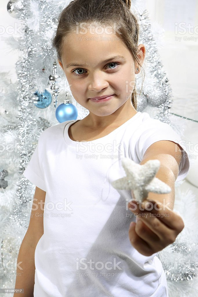 girl with white star royalty-free stock photo