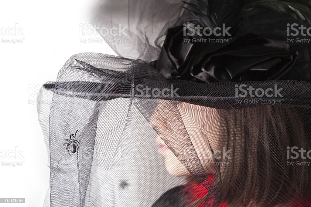 Girl with witch hat stock photo