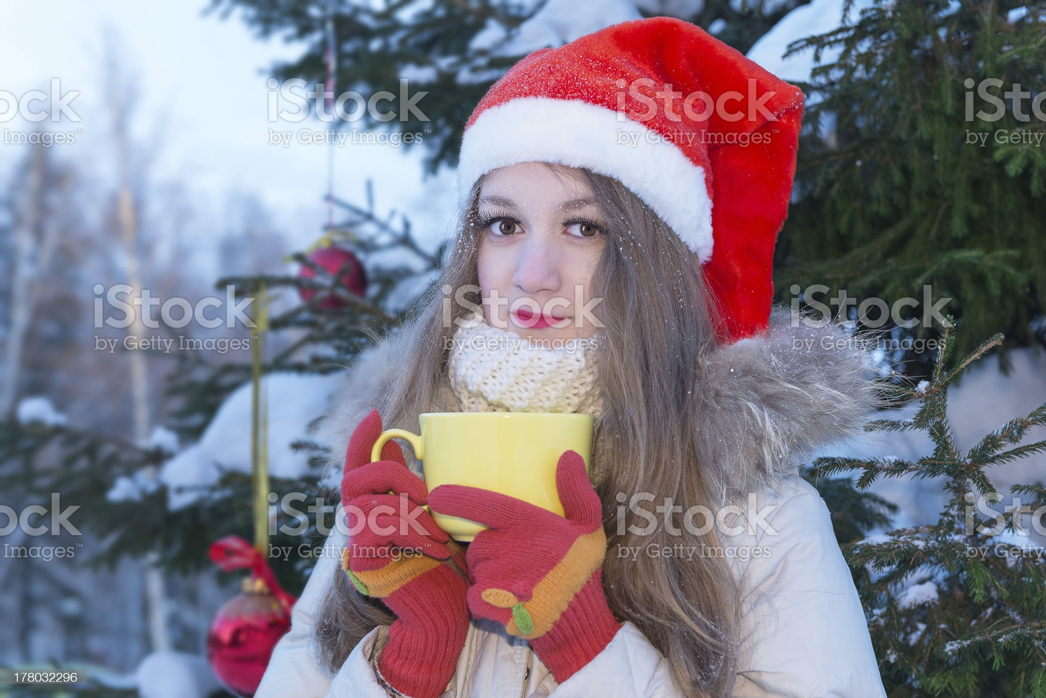 Girl with yellow cup royalty-free stock photo