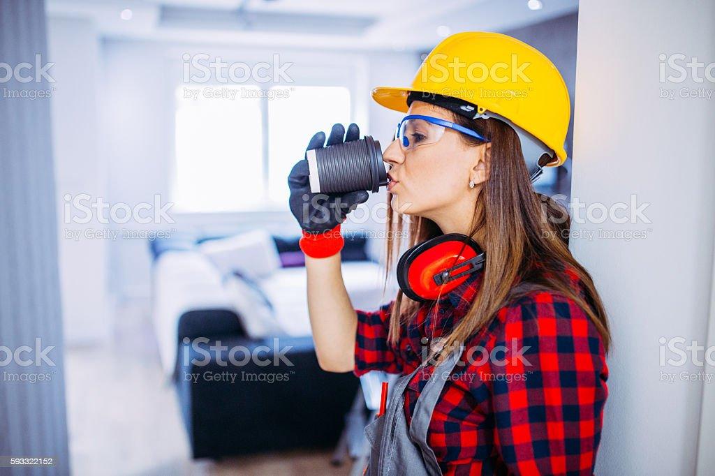 Girl worker coffee break stock photo