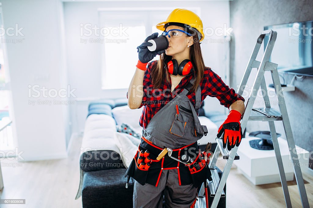 Girl worker on a coffee break stock photo