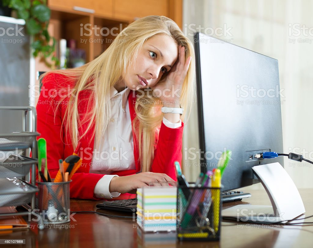 girl working at office stock photo