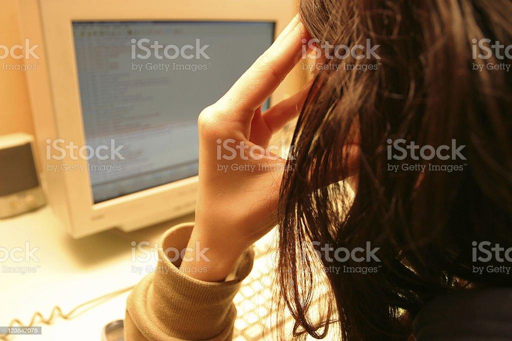 Girl working hard royalty-free stock photo