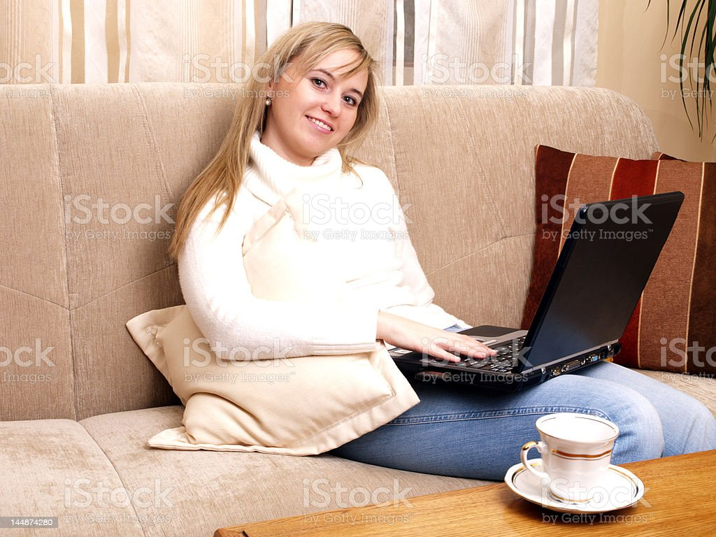 Girl working on her laptop. royalty-free stock photo