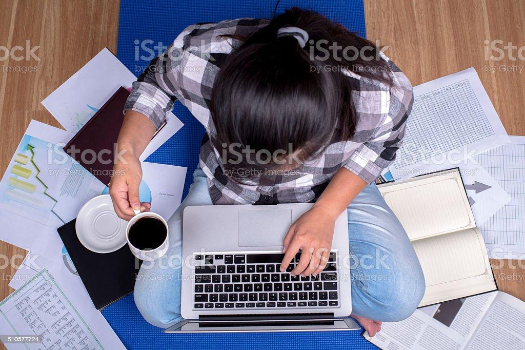 girl working on laptop stock photo