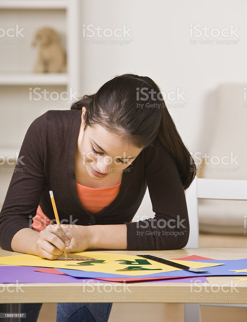 Girl Working on Project royalty-free stock photo