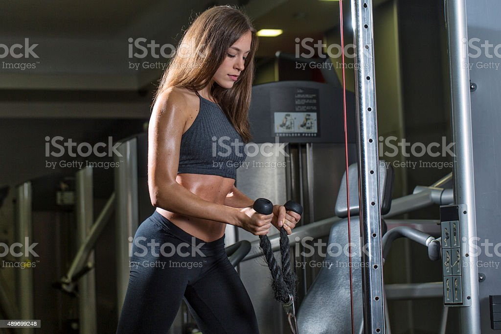 GIrl working out in the gym stock photo