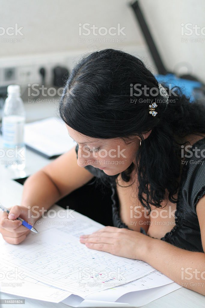 Girl works in office royalty-free stock photo