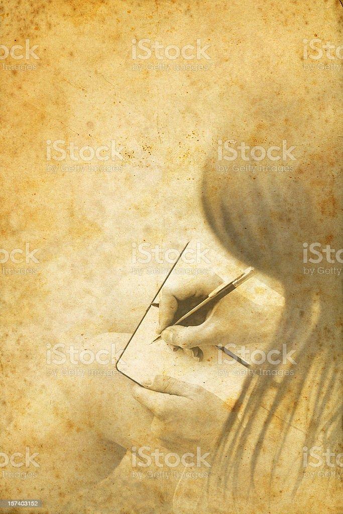 girl writes in her diary stock photo