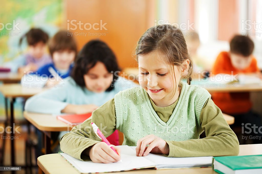 Girl writes in notebook at the classroom royalty-free stock photo