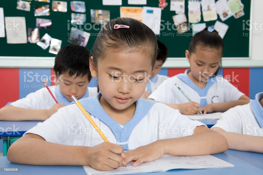 A girl writing royalty-free stock photo