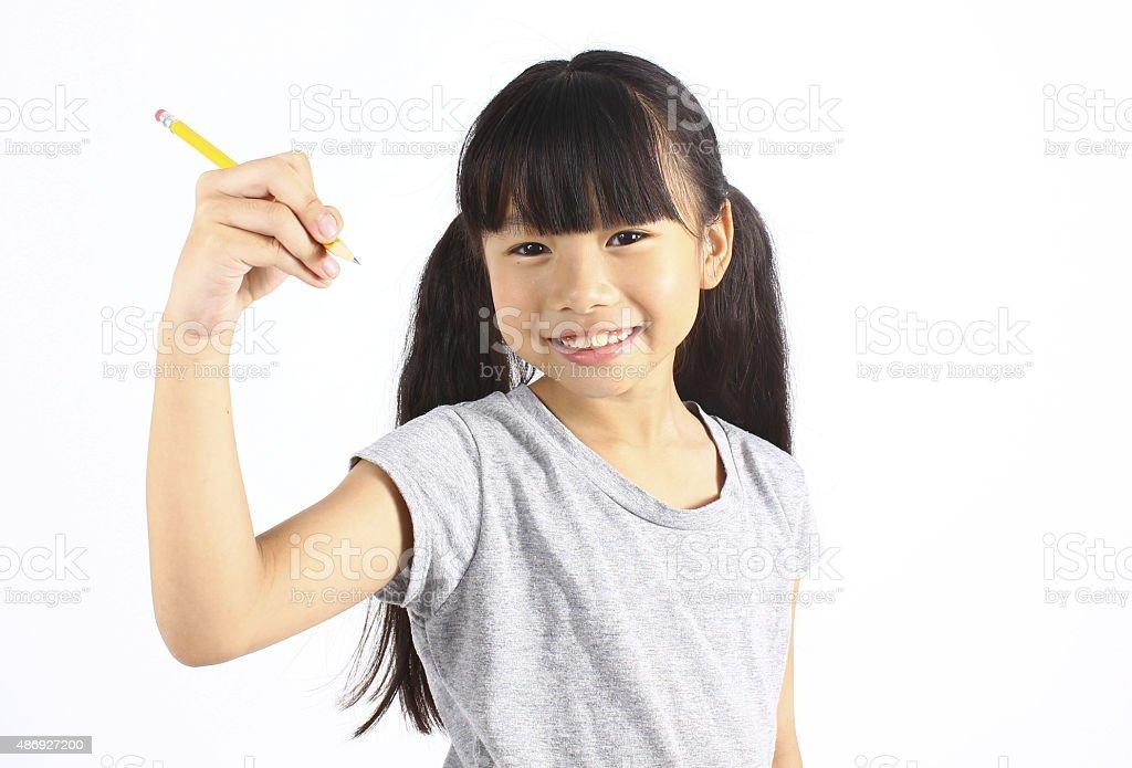 Mädchen Schreiben mit Stift Lizenzfreies stock-foto