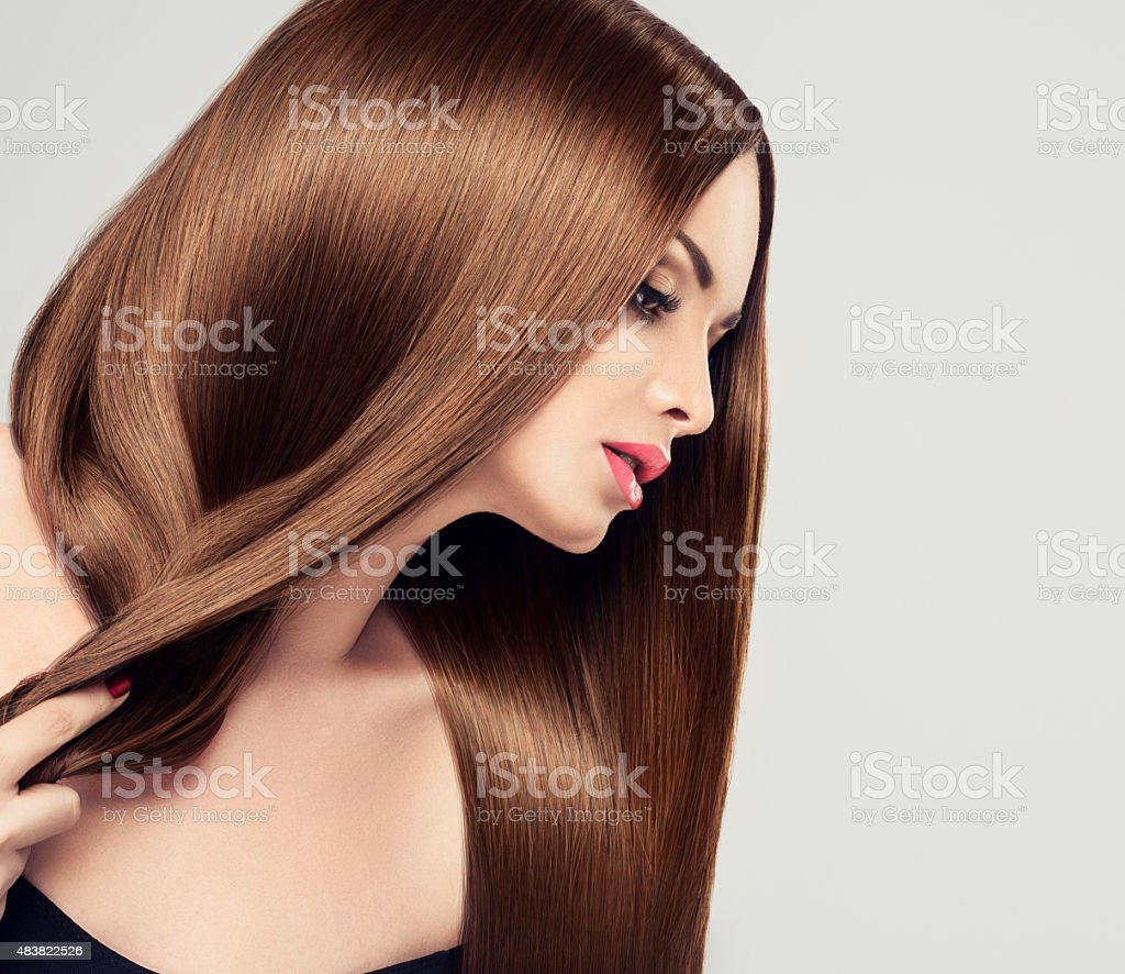 Girl wyth long hair stock photo