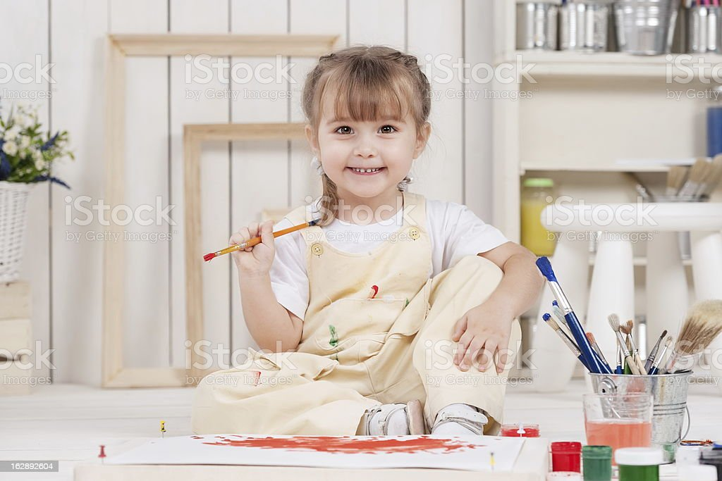 Girl-artist royalty-free stock photo