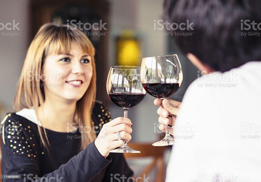 girlfriend at restaurant with boyfriend -  st.valentine stock photo