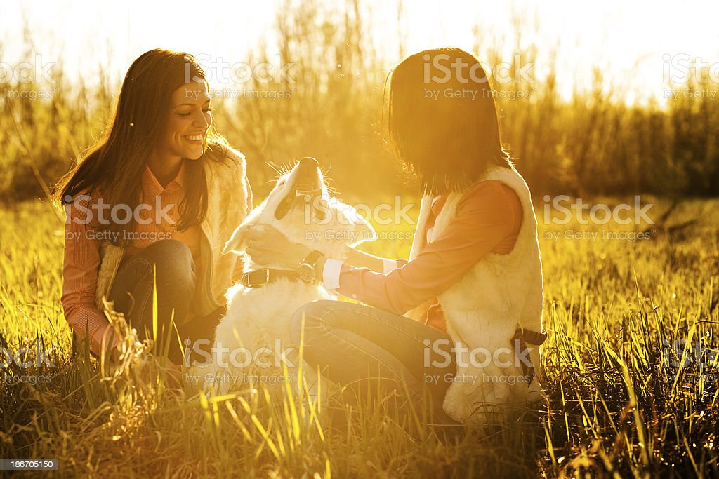 girlfriend with a dog royalty-free stock photo