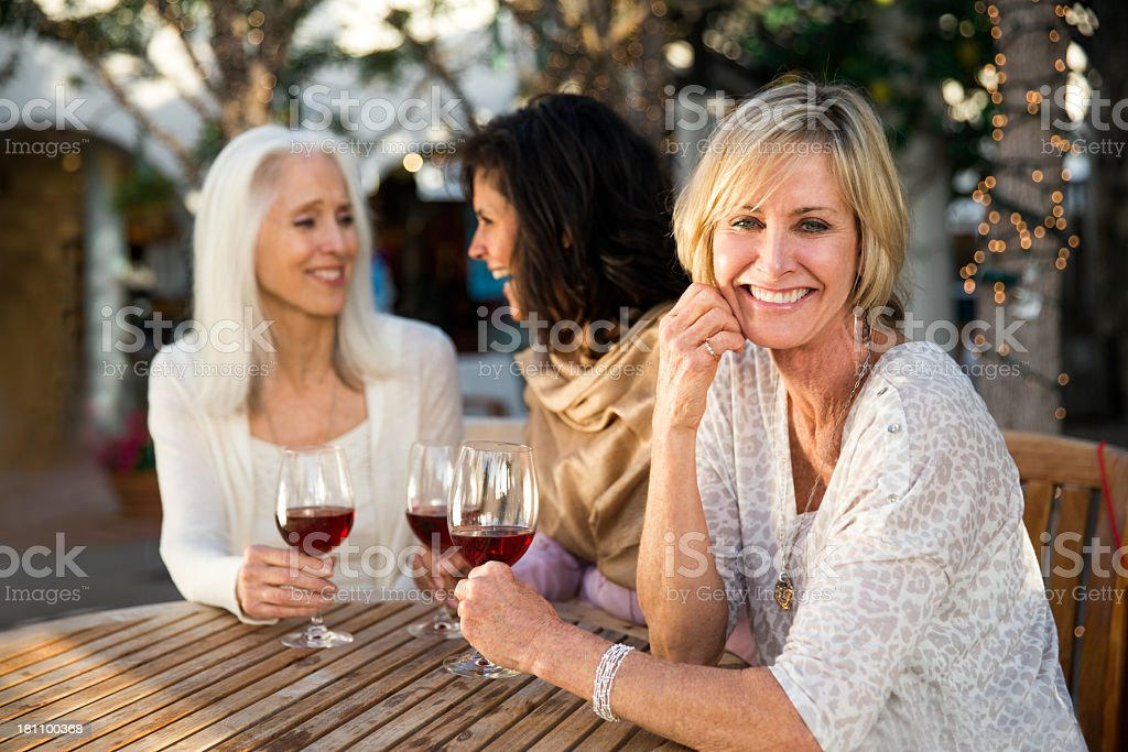 Girlfriends drinking wine stock photo