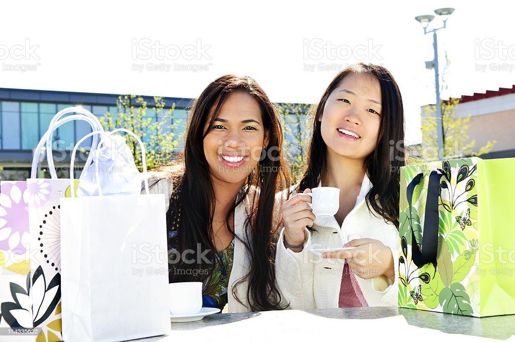 Girlfriends having coffee royalty-free stock photo