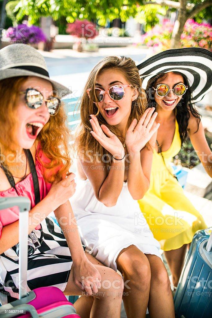 Girlfriends meeting stock photo