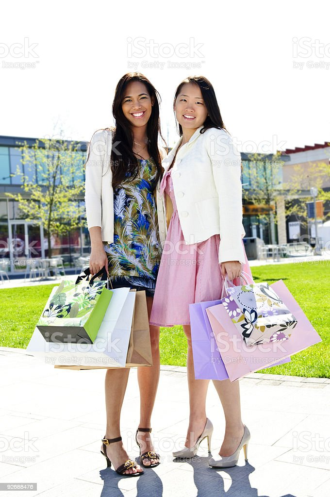 Girlfriends shopping royalty-free stock photo