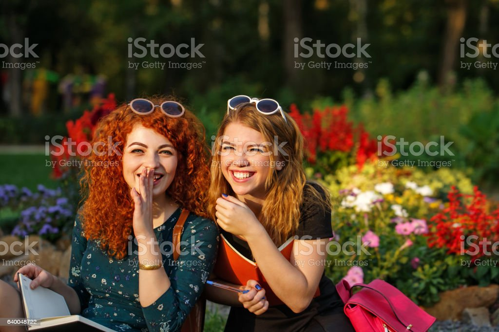 Girlfriends students laugh in the park. stock photo