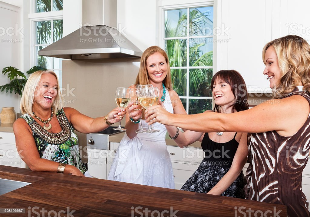 Girlfriends Toasting a Good Time stock photo