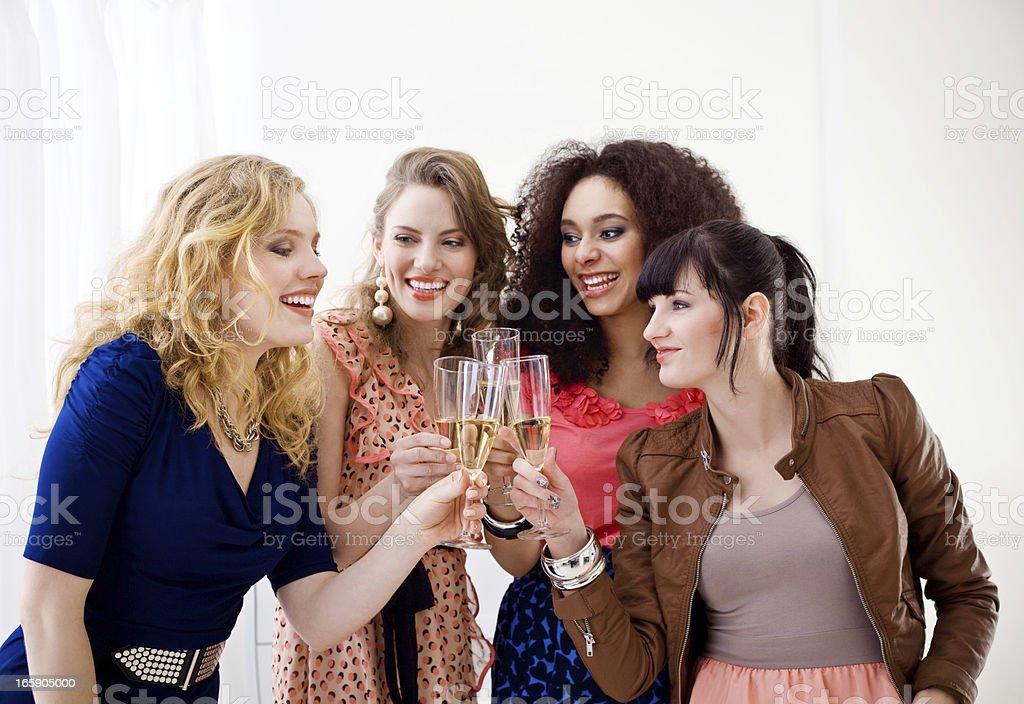 Girlfriends toasting royalty-free stock photo