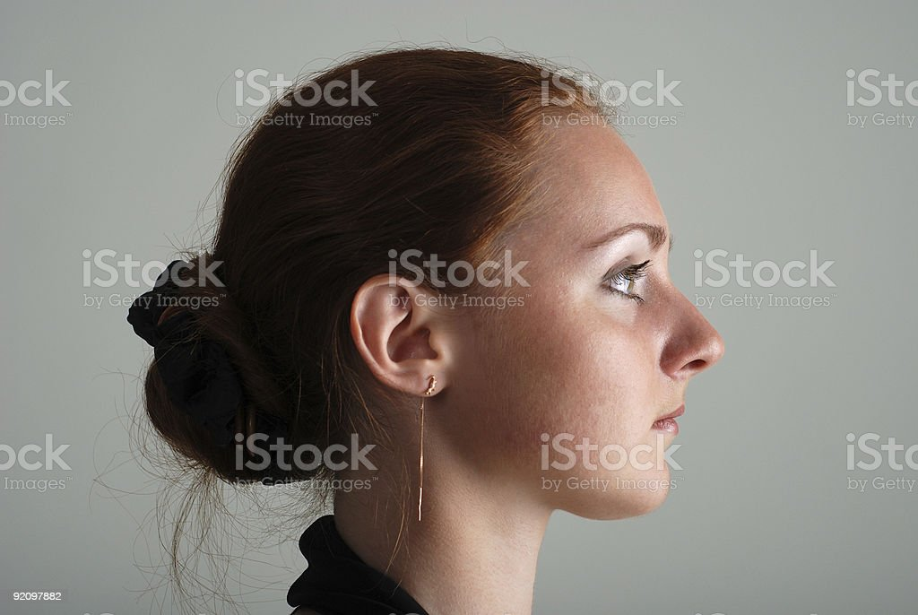 Girlish profile stock photo