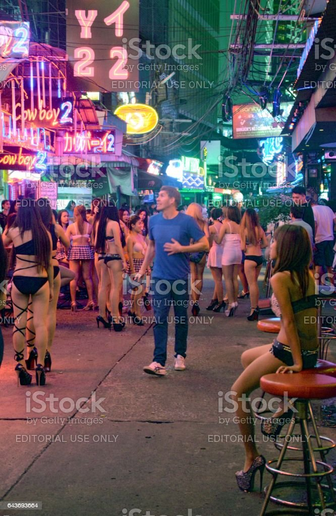 Girls along Soi Cowboy strip, Bangkok, Thailand stock photo