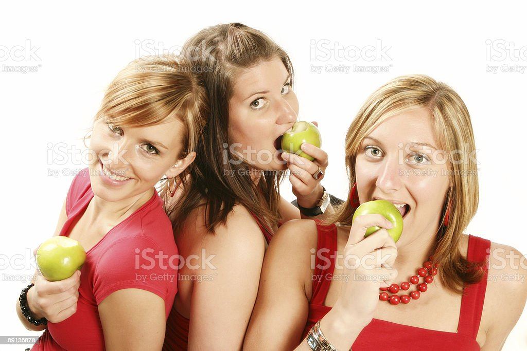 Girls and apples royalty-free stock photo