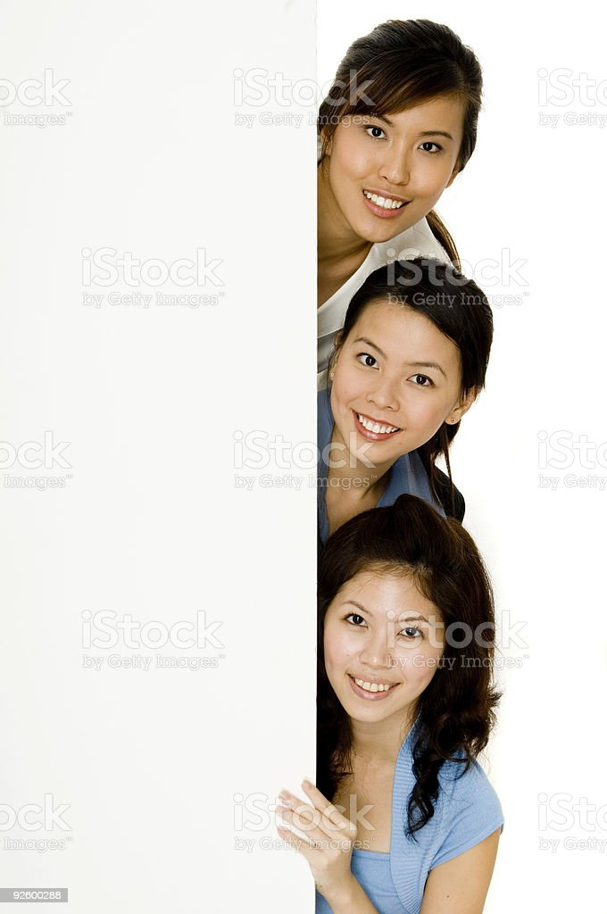 Girls and Blank Sign stock photo