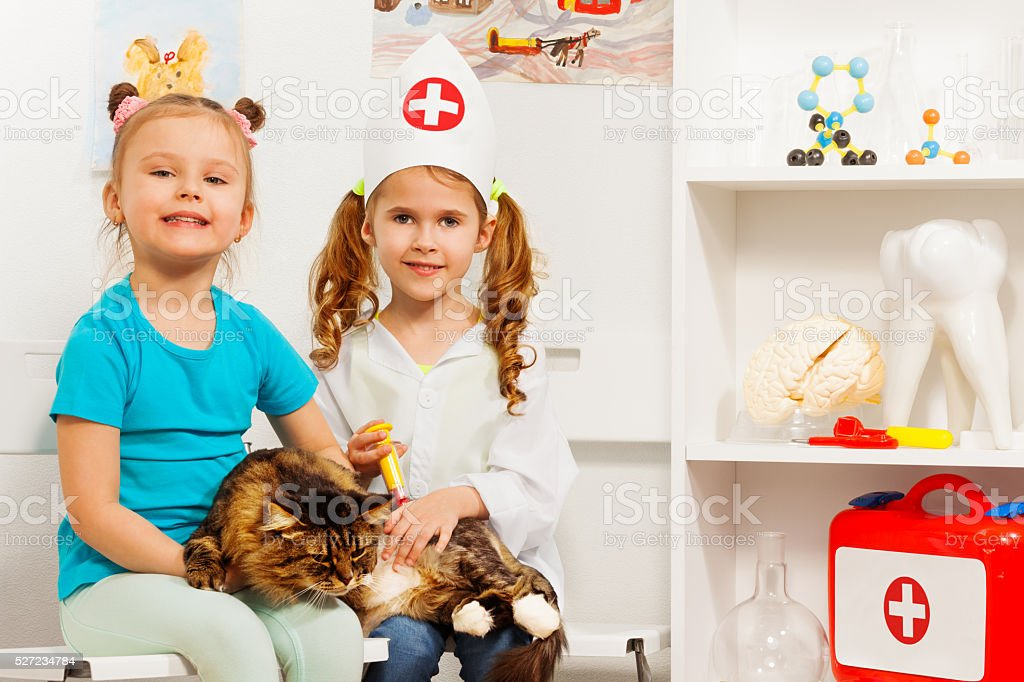 Girls and cat at the veterinary getting a vaccine stock photo