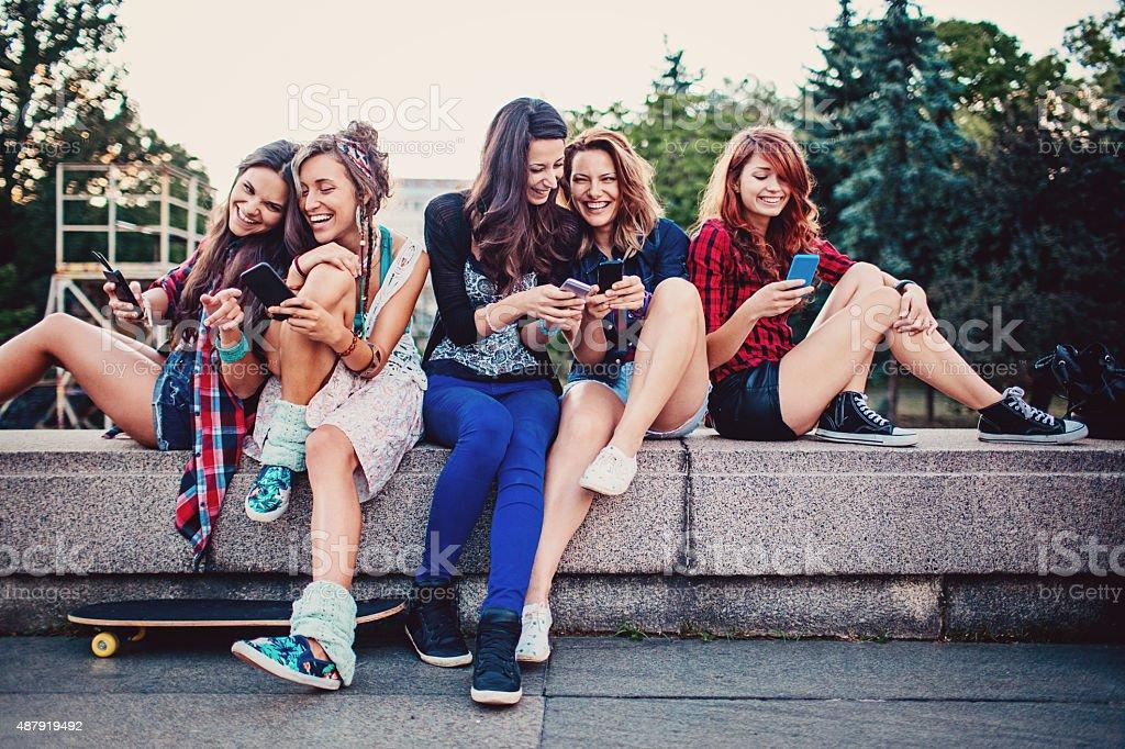 Girls and fun stock photo